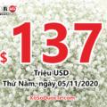 Kết quả ngày 01/11/2020: Có tới 3 người trúng giải triệu đô; Jackpot Powerball lên $137 triệu USD