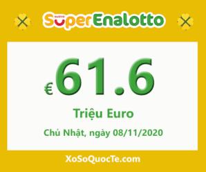 Kết quả ngày 06/11/2020; Xổ số SuperEnalotto có jackpot vượt lên mốc €61.6 triệu Euro