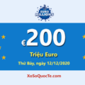 Jackpot Euro Millions tiếp tục duy trì mốc cao nhất €200 triệu Euro cho phiên tiếp theo ngày 12/12/2020