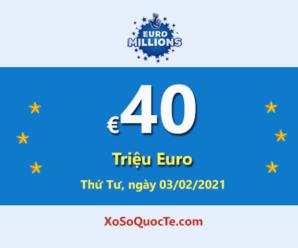 3 người chơi trúng giải Nhất của Euro Millions; Jackpot hiện là: €40 triệu Euro