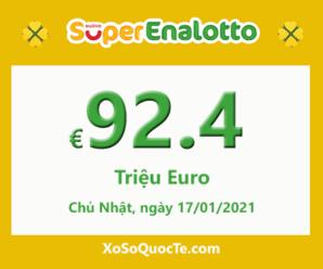 Kết quả xổ số Italia SuperEnalotto 15/1/2021; Jackpot tăng giá trị lên 92.4 triệu Euro