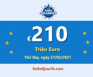 Jackpot xổ số tự chọn Euro Millions ở mốc cao nhất thế giới €210 triệu Euro cho phiên 27/12/2021