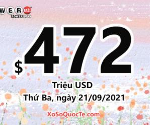 Ngày 19/09/2021: Xổ số Powerball có 1 người chơi trúng $1 triệu USD